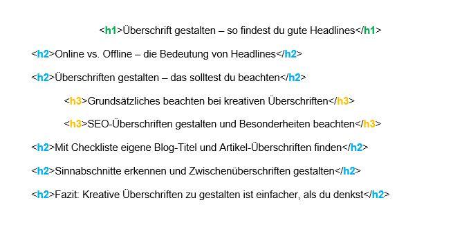 Überschriften gestalten mit HTML-Befehlen