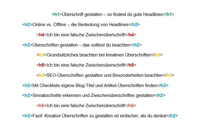 Headlines mit HTML richtig formatieren