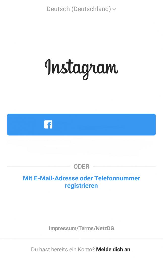 Bei Instagram registrieren