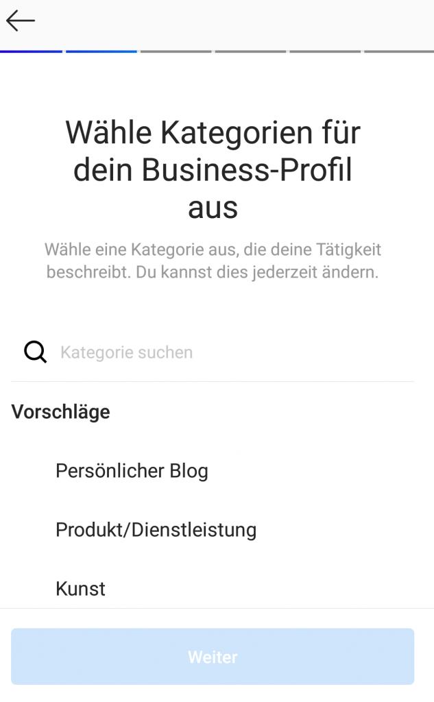 Instagram-Business-Kategorie