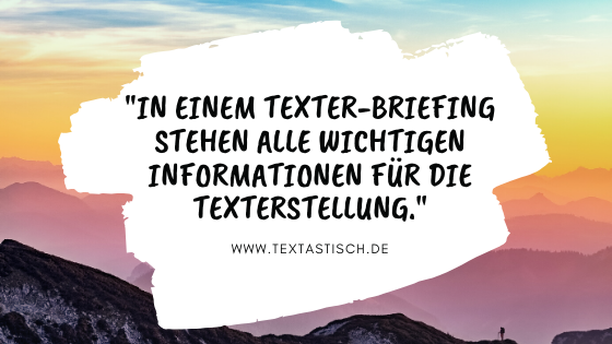 Wichtige Informationen im Texter-Briefing
