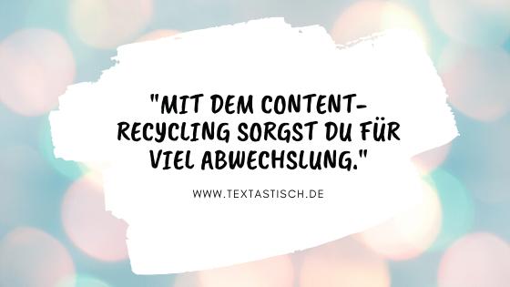 Abwechslung dank Content-Recycling