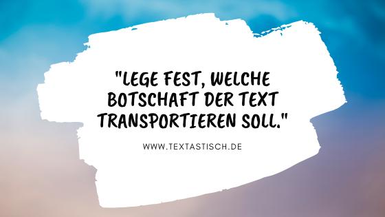 Texterstellung mit Botschaft