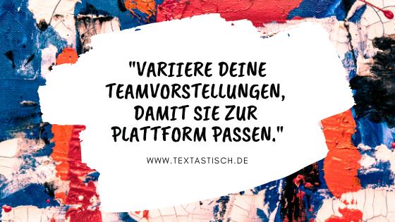 Kreative Teamvorstellung Ideen für unterschiedliche Plattformen