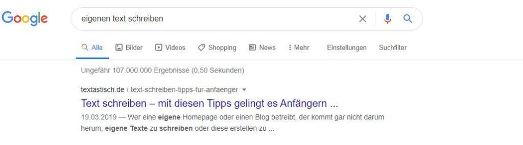 SEO-Texte Ranking Google